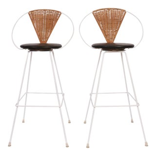 Pair of Arthur Umanoff for Shaver Howard Iron, Rattan & Black Leather Bar Stools For Sale