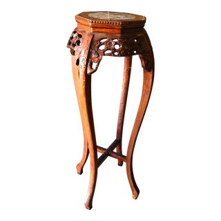 Vintage Chinese Hand Carved Wood Marble Top Pedestal Table For Sale