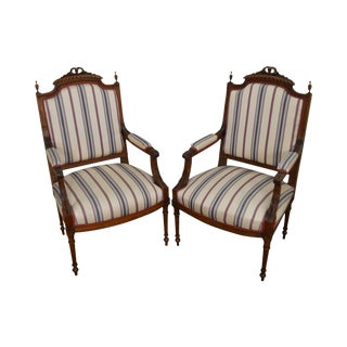 French Louis XVI Style Pair of Carved Walnut Frame Fauteuils Arm Chairs