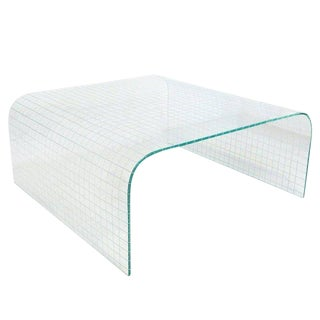 1950s Mid-Century Modern Scored Glass Waterfall Coffee Table For Sale
