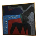 Image of James Kelly Blue Abstract Painting For Sale
