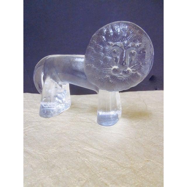 Kosta Boda Vintage Modernist Glass Lion - Image 4 of 9