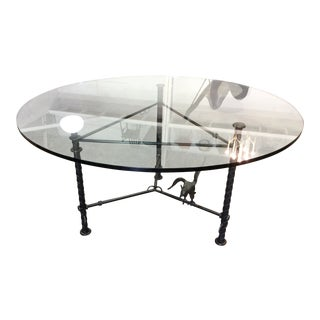 """Signed Ilana Goor Bronze Steel Dining Table 60"""" Glass Top For Sale"""