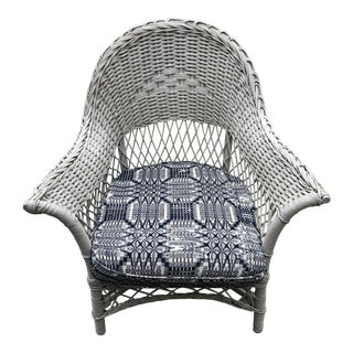 Vintage White Wicker Chair with Antique Coverlet Cushion For Sale