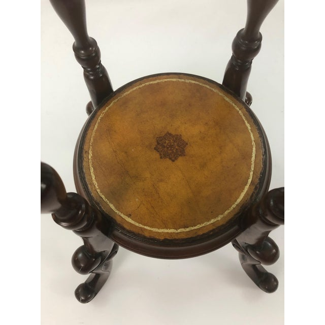 Maitland Smith Mahogany and Leather Top Stand For Sale In Philadelphia - Image 6 of 9