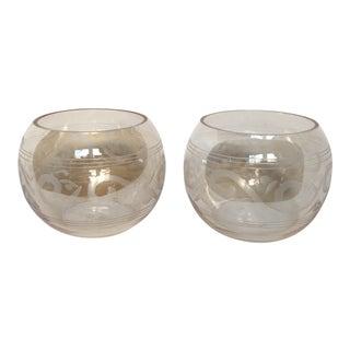 Vintage Etched Glass Votives - A Pair