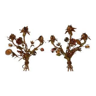 French Heavy Vibrant Colours Flowers Tole Sconces 1900's For Sale