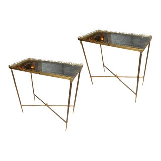 Maison Jansen Pair of Refined Gold Bronze Two Tier Side Tables For Sale