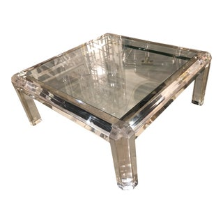 Vintage 1970s Hollywood Regency Polished Beveled Lucite New Inset Glass Top Coffee Cocktail Table For Sale