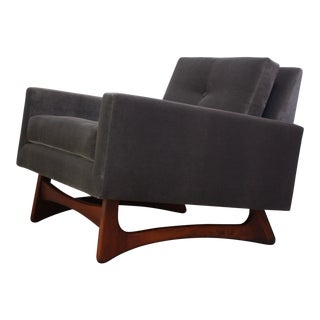 Adrian Pearsall for Craft Associates Lounge Chair in Walnut and Velvet For Sale
