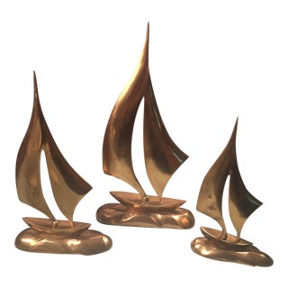 Mid Century Brutalist Brass Sailboats Figurines - Set of 3