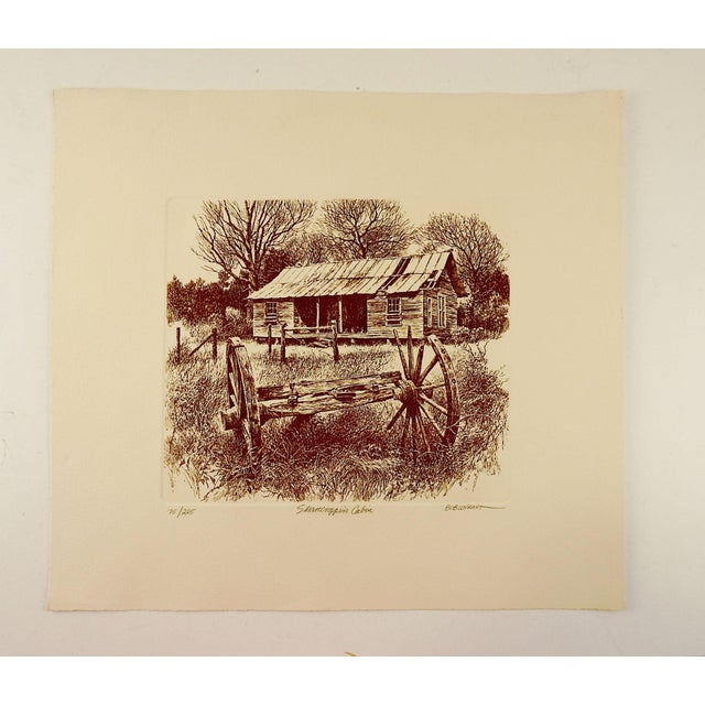 Rustic Bob Wygant Etching of Rustic Cabin For Sale - Image 3 of 4