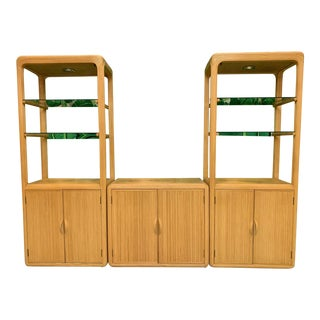 Split Reed Rattan Wall Unit in the Manner of Gabriella Crespi For Sale
