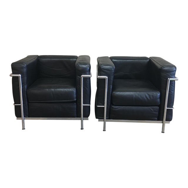 Vintage Le Corbusier Lc3 Style Lounge Chairs - A Pair - Image 1 of 5