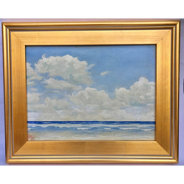 Vintage Seascape Oil Painting by H. Pond 1937 - Image 1 of 5
