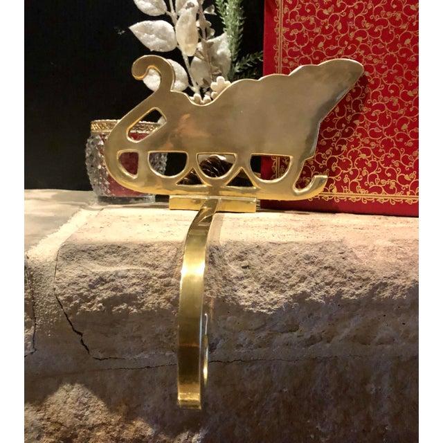 Metal Vintage Brass Stocking Hanger Christmas Sleigh Mantle Hook For Sale - Image 7 of 9