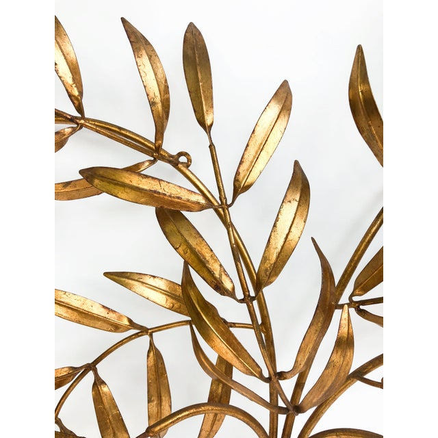 Vintage Italian Gilded Tole Leaves Wall Sculpture For Sale - Image 4 of 9