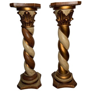 Vintage Mid Century Carved Wood Pedestals- A Pair For Sale