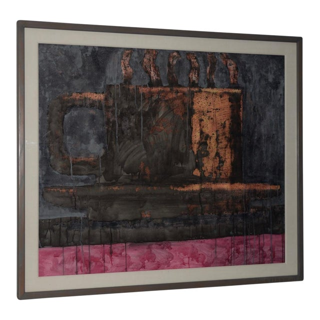 Aaron Fink (American, B.1955) Vintage Abstract Original Painting C.1986 For Sale