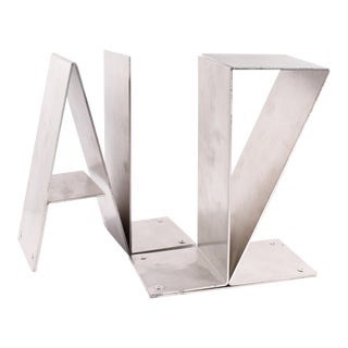 Industrial Minimalist Az Metal Bookends - a Pair For Sale