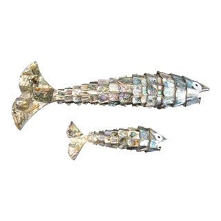 Abalone Shell Fish Sculptures in the Style of Los Castillos - a Pair For Sale