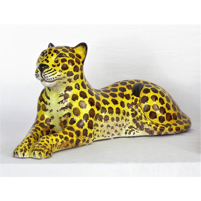 Offering an extremely large hand-made vintage ceramic Cheetah sculpture made in Italy, circa 1960's. This beautiful...