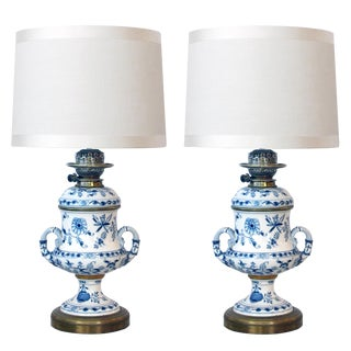 Meissen Blue Onion Pattern Oil Lamps by Whiteley's Dept. Store, London - a Pair For Sale