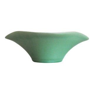 Vintage Green Scalloped Art Pottery Bowl For Sale