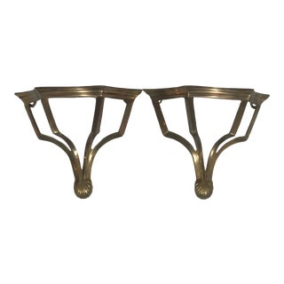 Chinoiserie Brass Wall Brackets, a Pair For Sale
