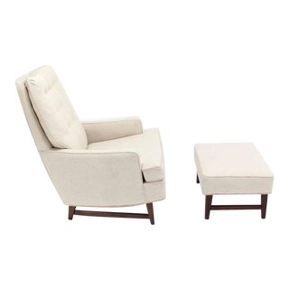 Midcentury Lounge Chair with Ottoman on Walnut Base New Upholstery For Sale