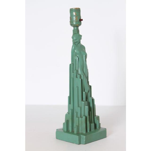 """Machine Age Art Deco Frankart """"Spirit of Modernism"""" Table Lamp #L215, A.V. Frankenberg 1928 For Sale - Image 11 of 11"""