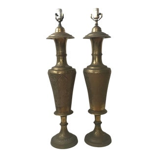 1950s Vintage Mid Century Persian Style Etched Brass Urn Table Lamps - a Pair For Sale