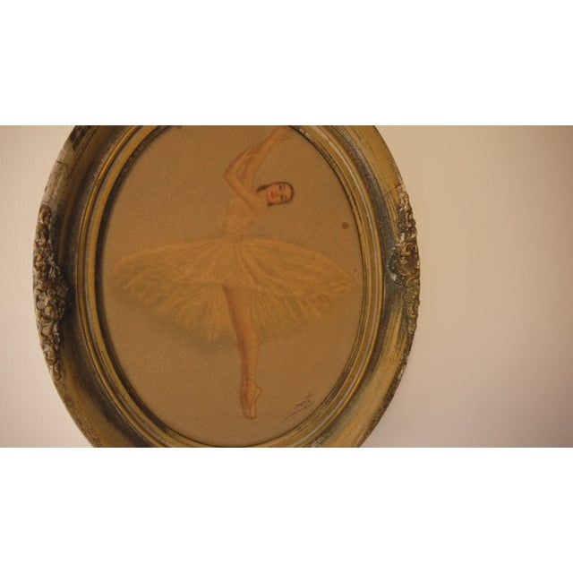 Ballerina Dancing in an Oval Frame Artwork For Sale - Image 4 of 6