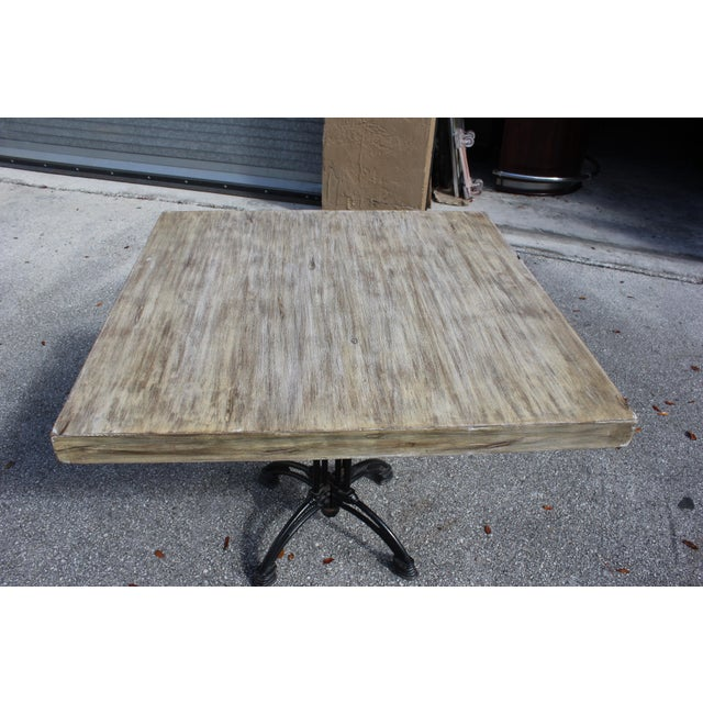 1920s French Country Cast Iron Base Walnut Top Dining / Bistro Table For Sale - Image 4 of 13