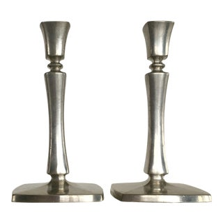 1930s Art Deco Pewter Candlesticks by Just Andersen - a Pair For Sale