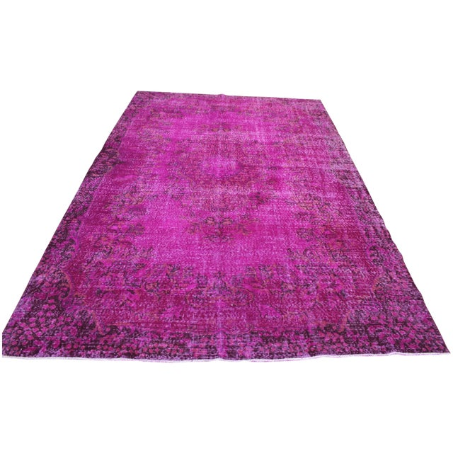 "6'4"" X 10' Turkish Pink Overdyed Rug - Image 1 of 10"