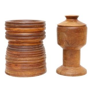 Vintage primitive wooden jar - set of 2