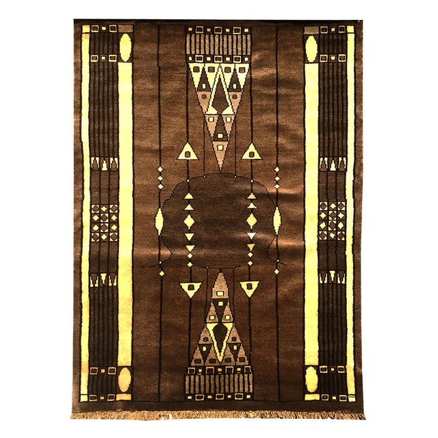 Mid 20th Century 20th Century Peking Style Gaba Brown Rug 3x4 For Sale - Image 5 of 5
