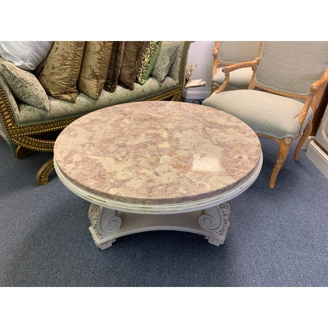 French Neoclassical Aurora Blush Marble Coffee Table For Sale - Image 4 of 9