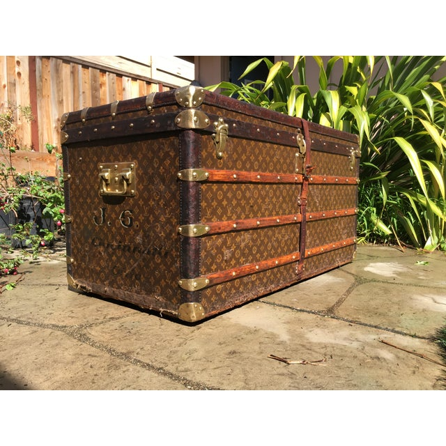 French 1930s French Louis Vuitton Monogram Steamer Trunk For Sale - Image 3 of 13