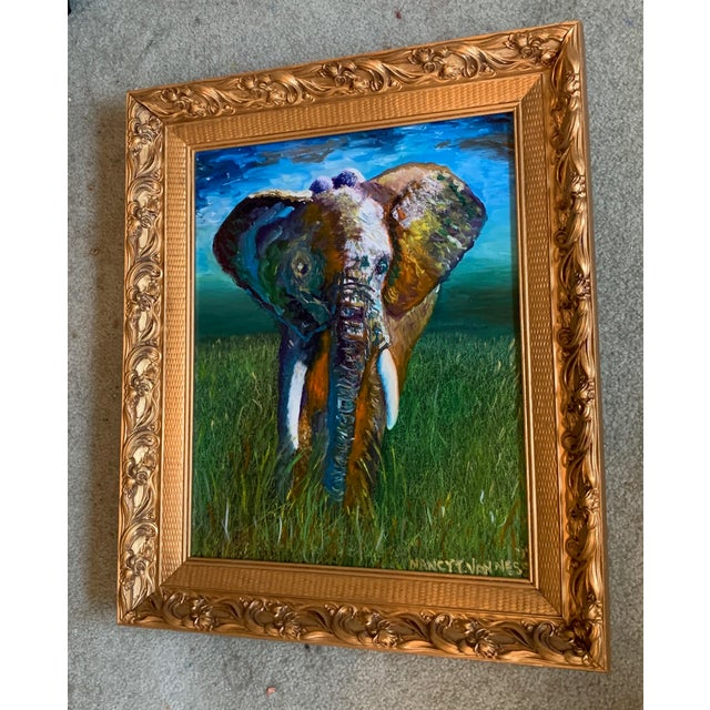 Original OIl Painting Elephant Framed Great gift. Ready to hang. Nancy T. Van Ness Artist… Over the years I've been drawn...