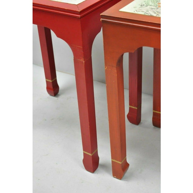Vintage Oriental Ming Style Red Wooden Side End Tables With Tile Tops - A Pair For Sale - Image 9 of 11