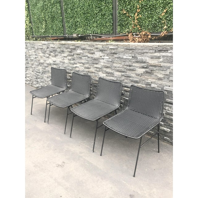 Modern Black Woven Outdoor Dining Chairs - Set of 4 - Image 3 of 8