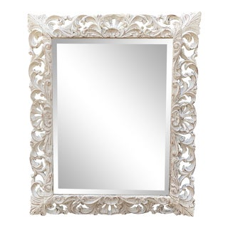 Continental Baroque Style Carved Rococo Paint Decorated Mirror - Hendrix Allerdyce For Sale