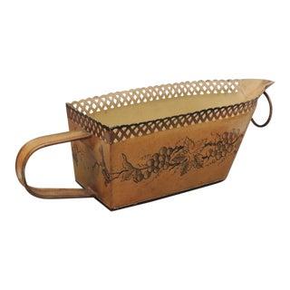 Vintage French Planter Tole Peinte Cachepot Jardiniere Basket For Sale
