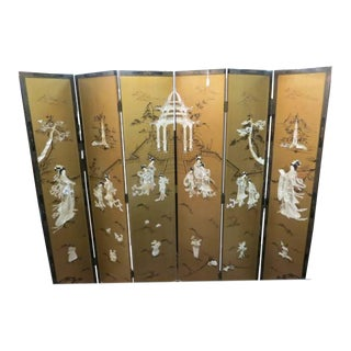 Vintage Chinese Gold Painted Wood and Mother of Pearl 6-Panel Screen, 1950s For Sale