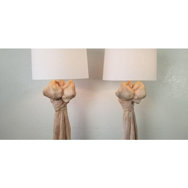 John Dickinson Style Sculptural Draped Plaster Floor Lamps - a Pair For Sale - Image 10 of 13
