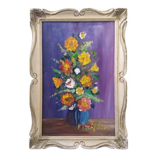 1950s French Impressionist Oil Painting of Floral Still Life