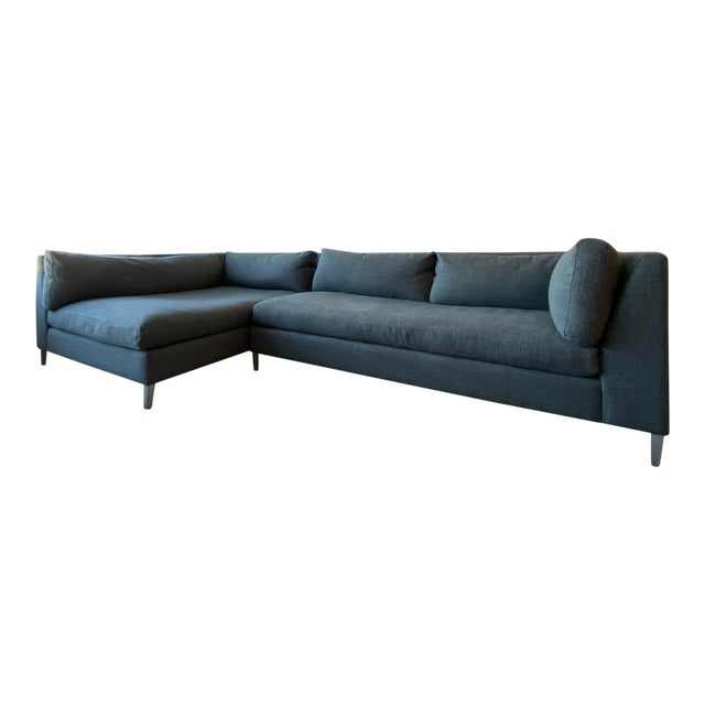 Cb2 Decker 2-Piece Asphalt Sectional Sofa Set For Sale