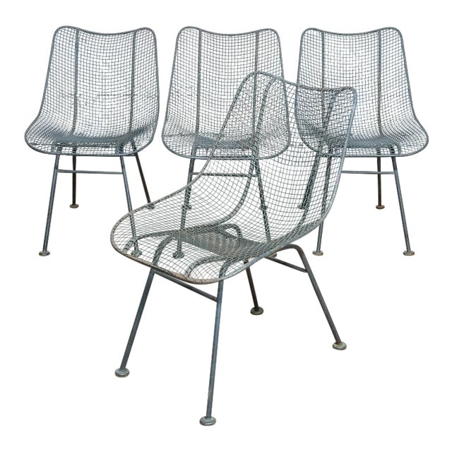 Set of 4 Russell Woodard Wire Chairs For Sale